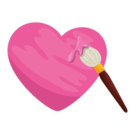 paint brush with heart isolated icon vector illustration design