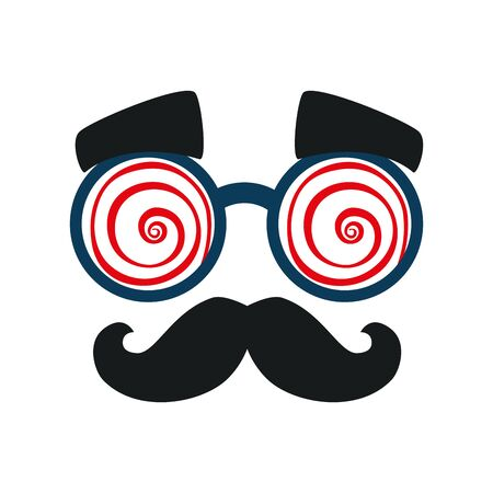 mask with crazy glasses and moustache vector illustration design