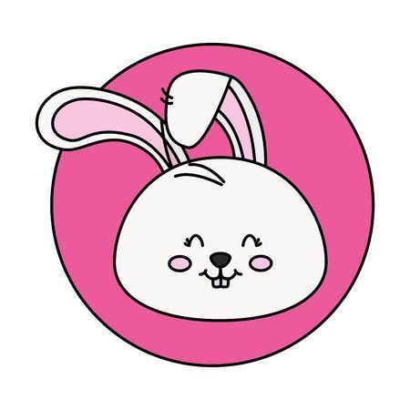 head of cute rabbit in frame circular vector illustration design Foto de archivo - 142865853