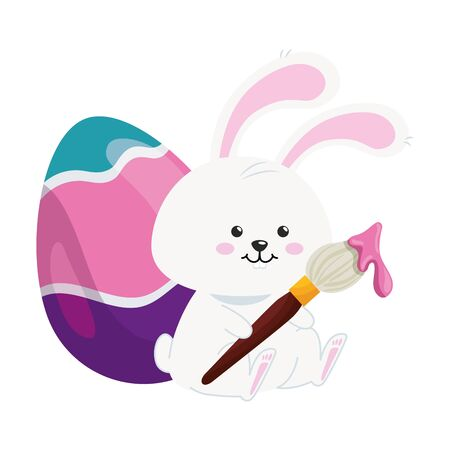 cute rabbit with egg easter isolated icon vector illustration design Foto de archivo - 142865854