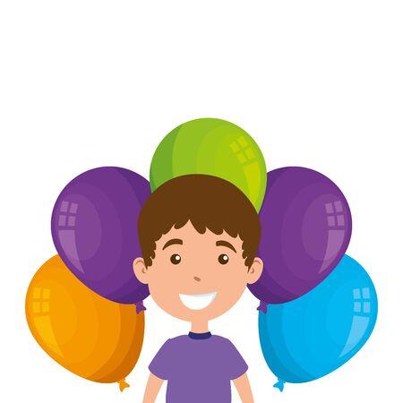 cute little boy with balloons helium vector illustration design Foto de archivo - 142865877