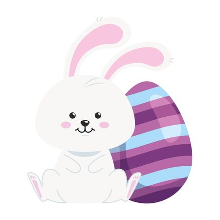 cute rabbit with egg easter isolated icon vector illustration design Foto de archivo - 142868211