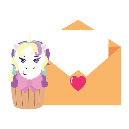 cupcake of head of cute unicorn with envelope vector illustration design