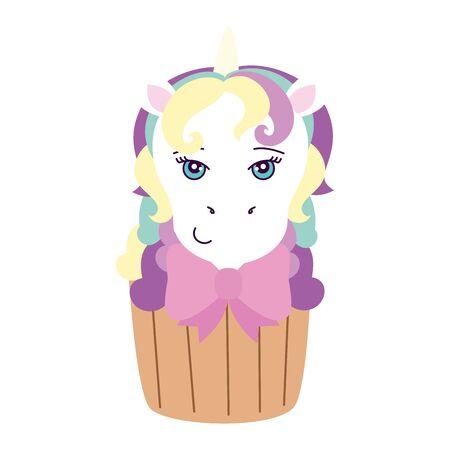 cupcake of head of cute unicorn vector illustration design