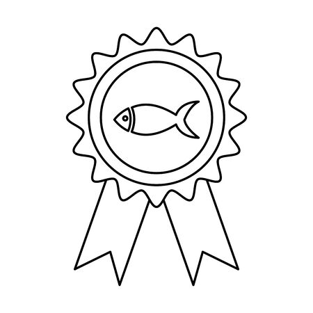 stamp with fish animal isolated icon vector illustration design