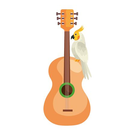 guitar with parrot bird isolated icon vector illustration design