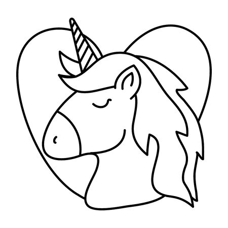head of cute unicorn with heart isolated icon vector illustration design