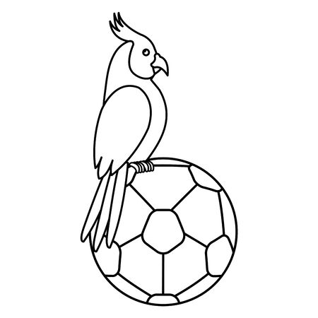 parrot with ball soccer isolated icon vector illustration design