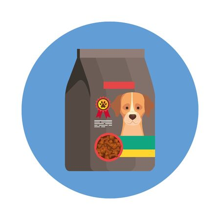 food for dog in bag with frame circular isolated icon vector illustration design