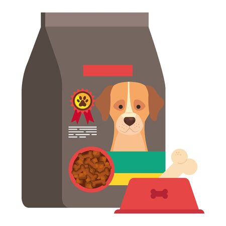 bag and dish food for dog isolated icon vector illustration design