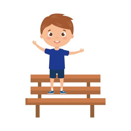 boy on park chair on white background vector illustration design