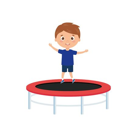 cute little boy in trampoline jump game vector illustration design