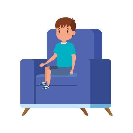 cute little boy sitting in sofa vector illustration design Foto de archivo - 142868780