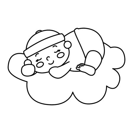 cute little baby boy in cloud isolated icon vector illustration design Foto de archivo - 142865847