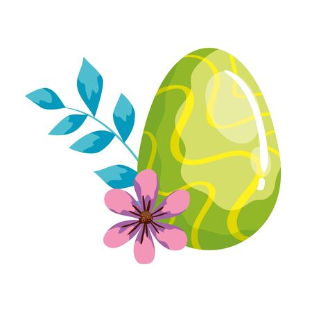 cute egg easter decorated waves lines and flower vector illustration design  イラスト・ベクター素材