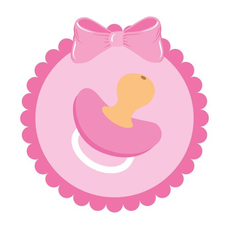 cute pacifier baby in lace frame vector illustration design
