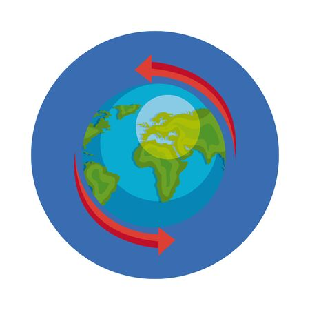 world planet earth in frame circular vector illustration design