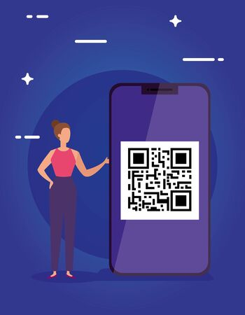 scan code qr in smartphone with businesswoman vector illustration design