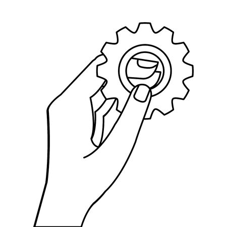 hand with gear line style icon vector illustration design
