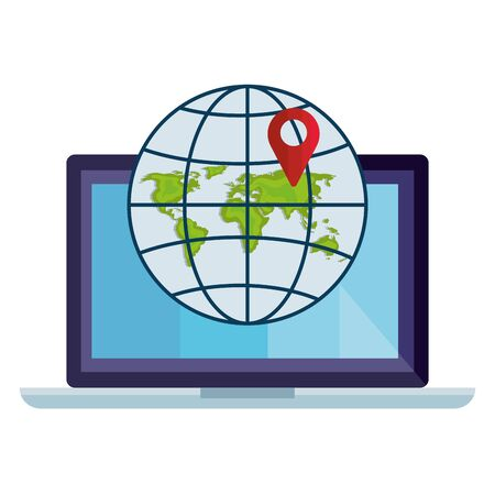 Gps mark and global sphere in front of laptop design, Map travel navigation route road location technology search street and direction theme Vector illustration Ilustração