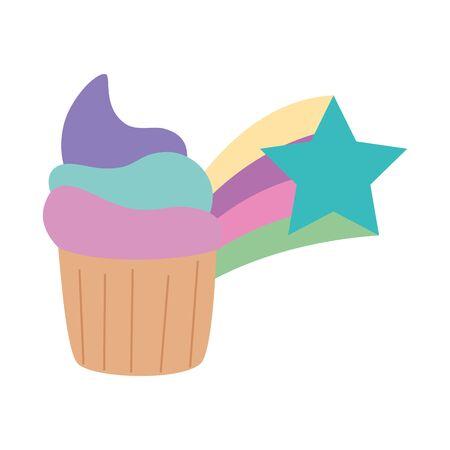 cute cupcake with shooting star vector illustration design Ilustracja