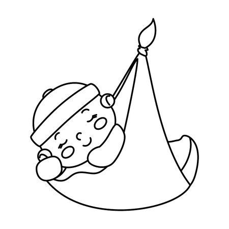 cute little baby boy hanging in diaper vector illustration design