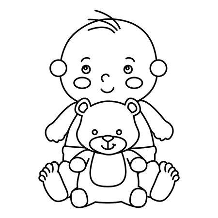 cute little baby boy with teddy bear vector illustration design Illustration