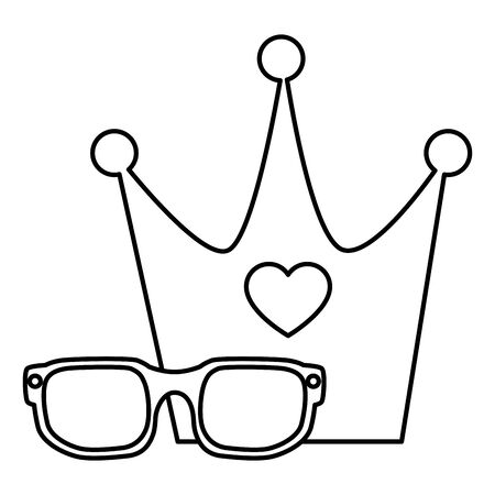 cute eyeglasses and crown line style icon vector illustration design
