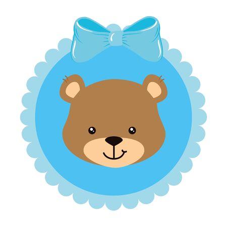 face of cute teddy bear in lace frame vector illustration design 向量圖像
