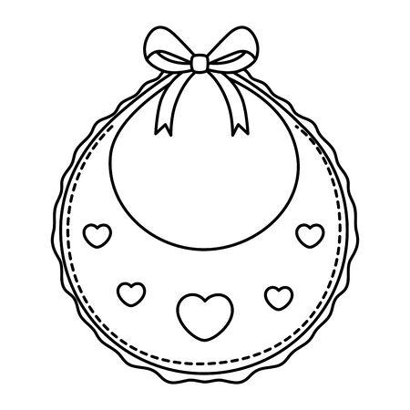 cute baby bib line style icon vector illustration design
