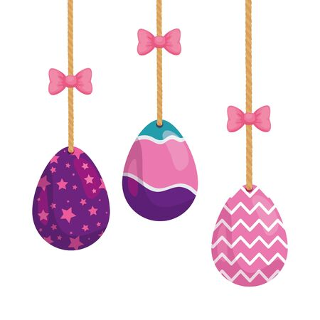set of cute eggs easter decorated hanging vector illustration design