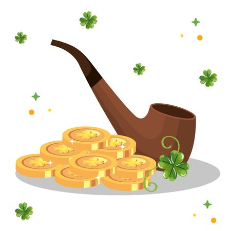 smoking pipe with coins and clovers decoration vector illustration designicon