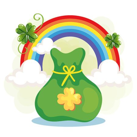 rainbow and bag money with clover vector illustration designicon