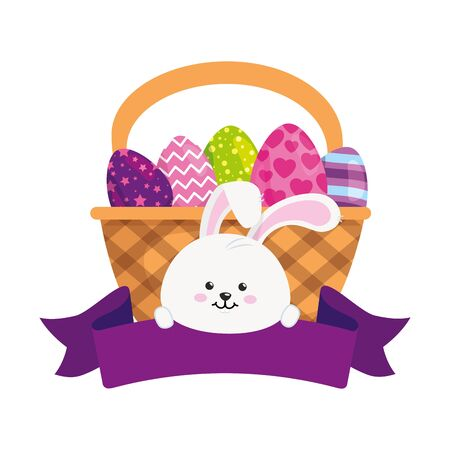 rabbit and set of cute eggs easter decorated in basket wicker vector illustration designicon