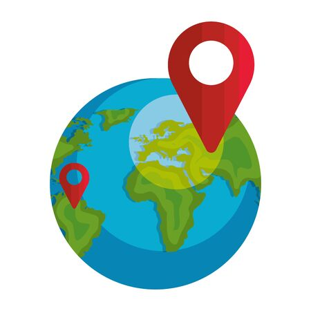 world planet earth with pin pointer location isolated icon vector illustration design  イラスト・ベクター素材