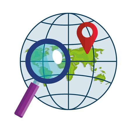 Gps mark loupe and global sphere design, Map travel navigation route road location technology search street and direction theme Vector illustration