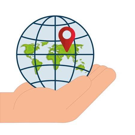 Gps mark and global sphere over hand design, Map travel navigation route road location technology search street and direction theme Vector illustration