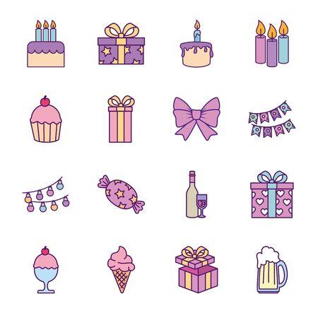 Icon set design, Happy birthday card celebration decoration surprise party anniversay and invitation theme Vector illustration