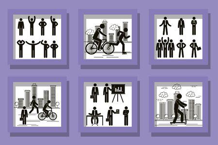 bundle of silhouettes of men doing activities vector illustration design 일러스트