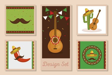 Mexican frames set design, Mexico culture tourism landmark latin and party theme Vector illustration