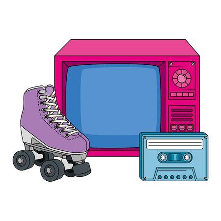 roller skate with tv and cassette nineties retro vector illustration design