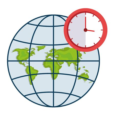 Clock and global sphere design, Map travel navigation route road location technology search street and direction theme Vector illustration