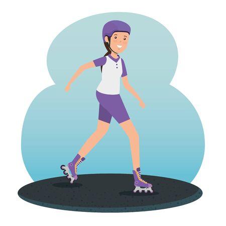 girl training roller skates fitness activity to summer sport vector illustration