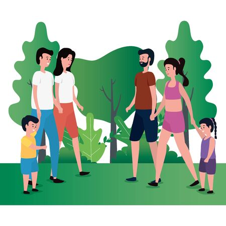 group of parents with kids on the park vector illustration design 일러스트