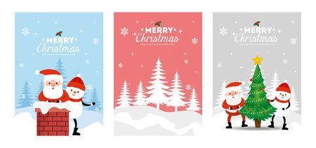 set poster of merry christmas and decoration vector illustration design