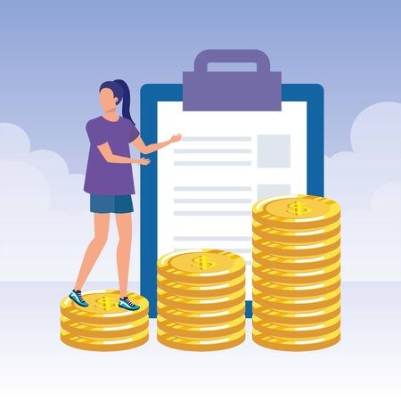 young woman with checklist and money vector illustration design Vectores