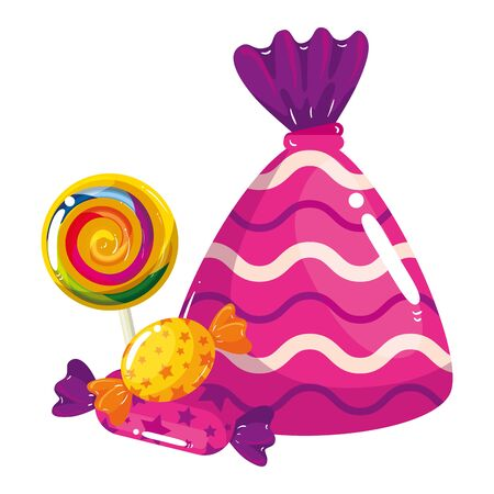 set of delicious candies isolated icons vector illustration design Ilustração