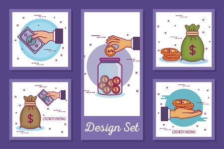 designs set of crowdfunding and icons vector illustration design