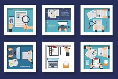 bundle of scenes resources human with icons vector illustration design