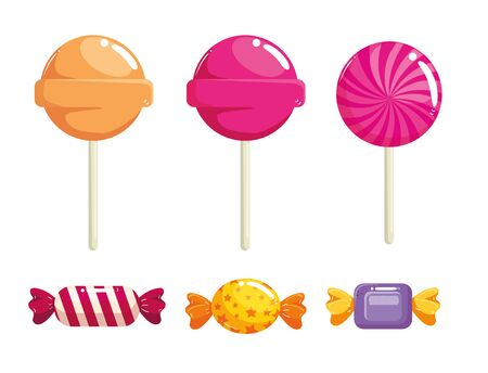 set of delicious sweet candies vector illustration design
